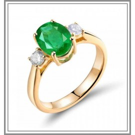 Emerald Diamond Ring 18k