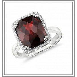 Garnet and Diamond Halo Cushion-Cut Gemstone Ring