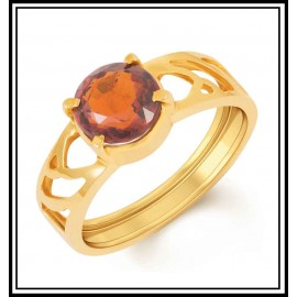 Astrological Hessonite Gold Ring