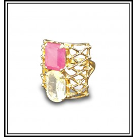Astrological Ruby Yellow Sapphire Gold Ring